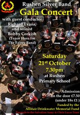 Rushen Silver Band Gala Concert to raise money for Salvation Army and Chris Lucas Trust