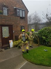 Kitchen fire at Saddle Mews