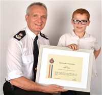 Six year old boy receives Chief Constable's Commendation